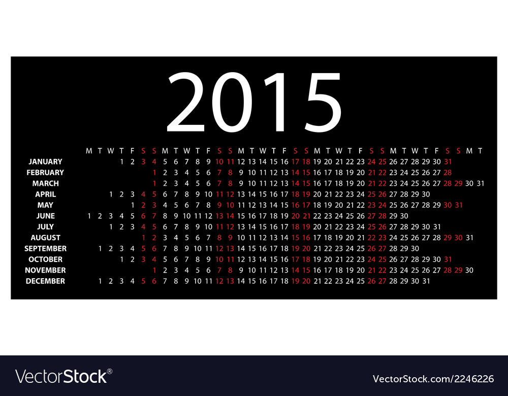 Horizontal calendar for 2015 vector | Price: 1 Credit (USD $1)