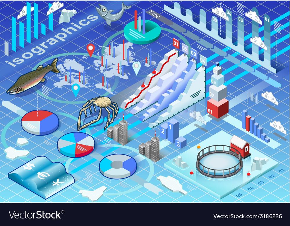Isometric infographic ice fishing set vector | Price: 3 Credit (USD $3)
