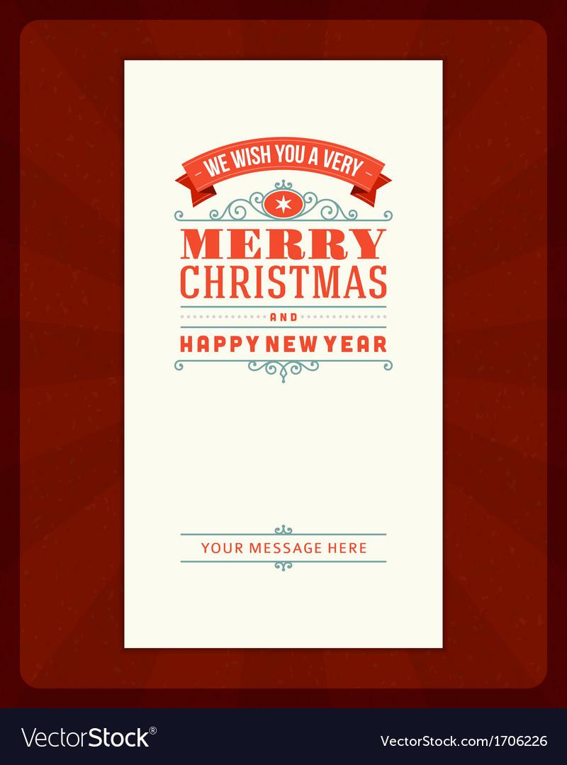 Merry christmas invitation card ornament decoratio vector | Price: 1 Credit (USD $1)