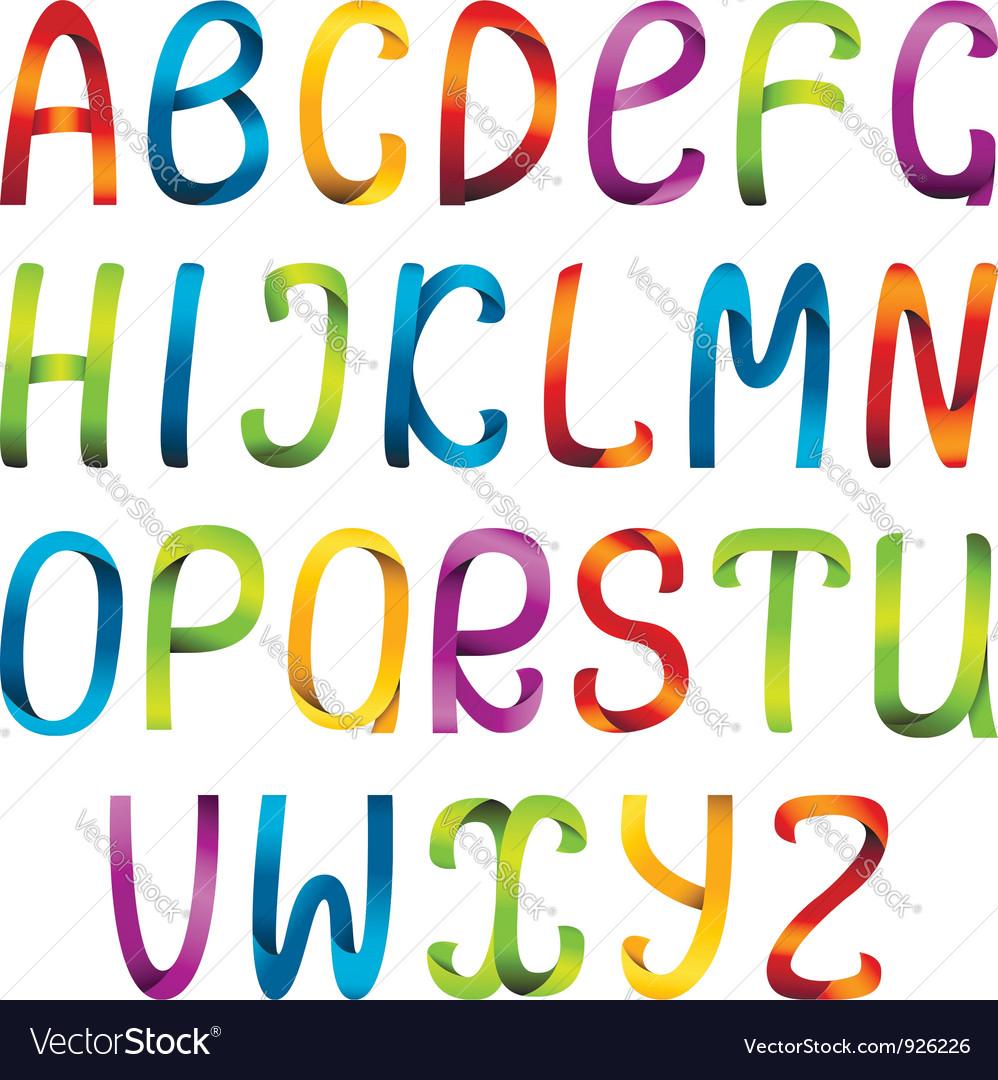 Rainbow ribbon alphabet vector | Price: 1 Credit (USD $1)