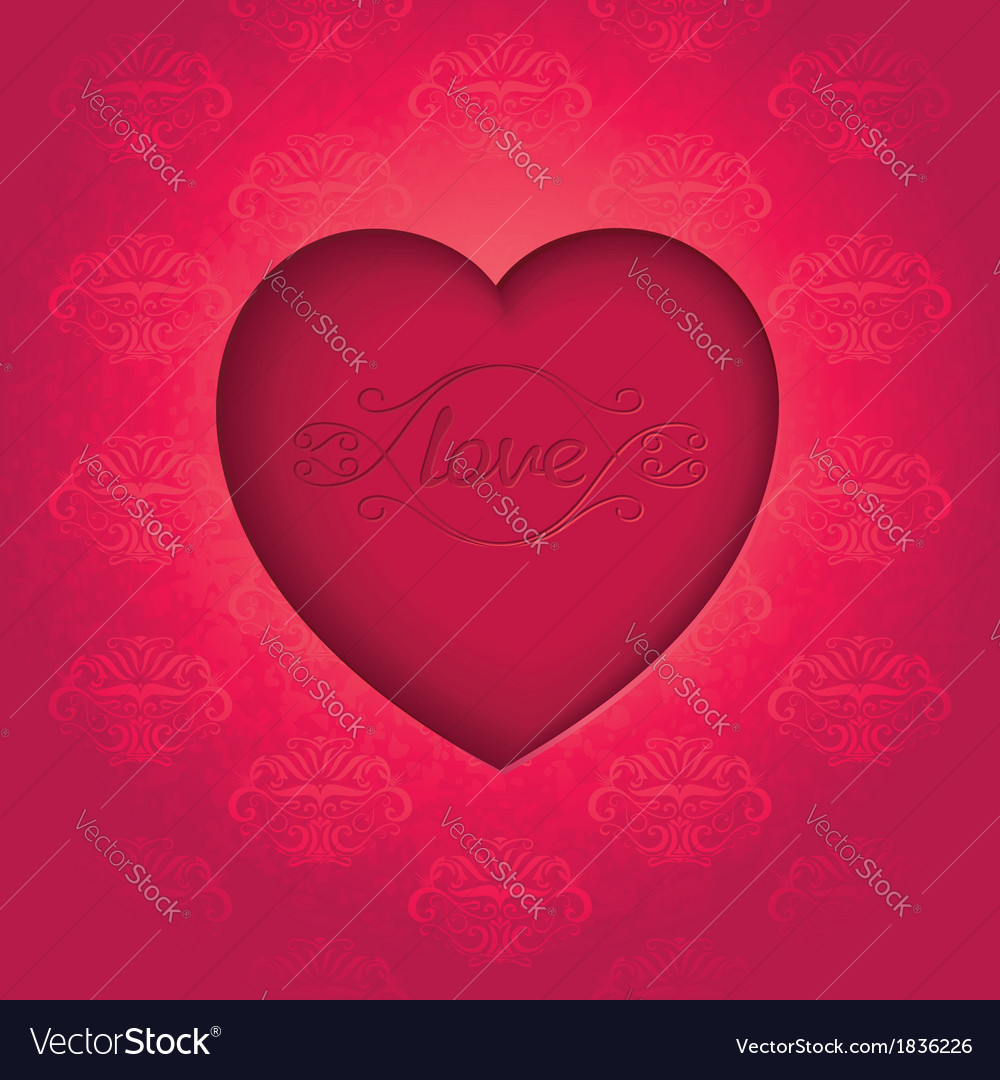 Retro heart on old royal background vector | Price: 1 Credit (USD $1)