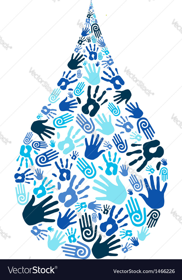 Save water diversity hand shape vector | Price: 1 Credit (USD $1)