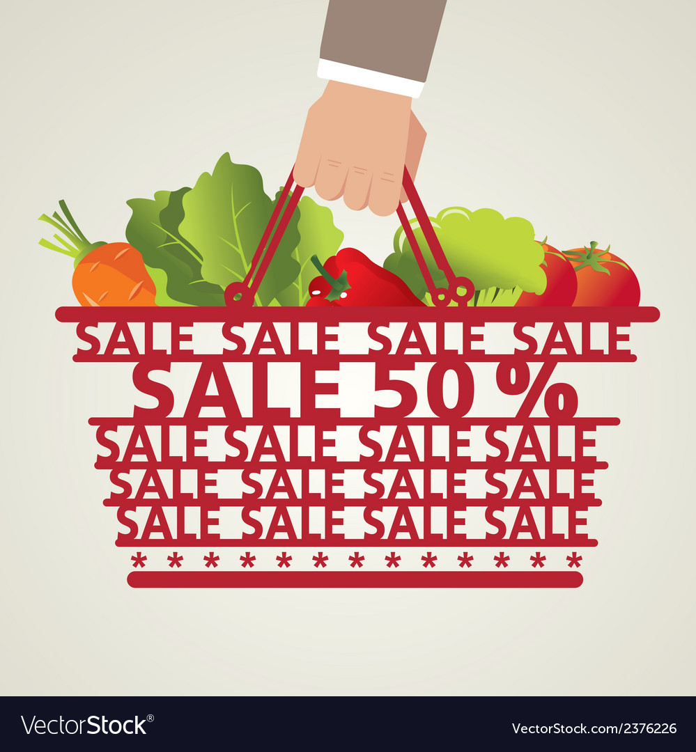 Shopping basket and vegetable vector   Price: 1 Credit (USD $1)