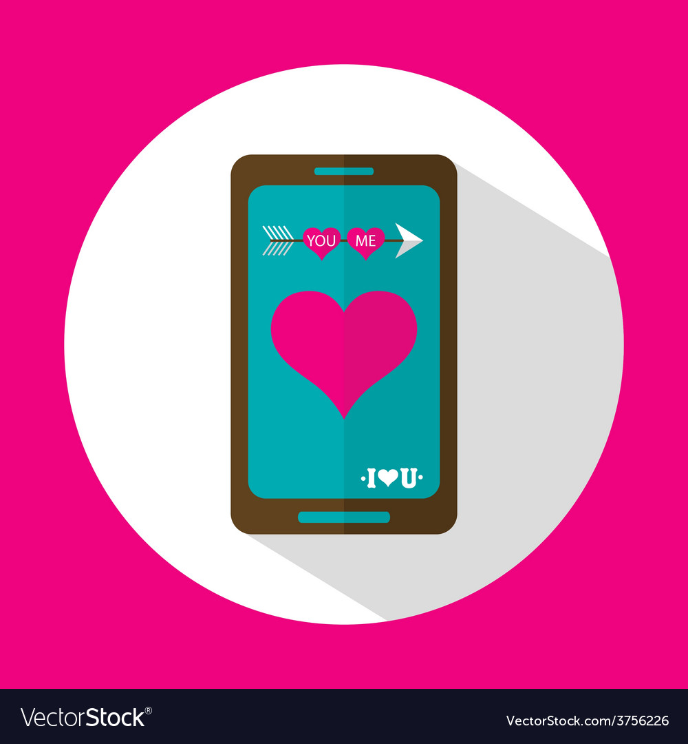 Valentine message flat icon with long shadow vector | Price: 1 Credit (USD $1)