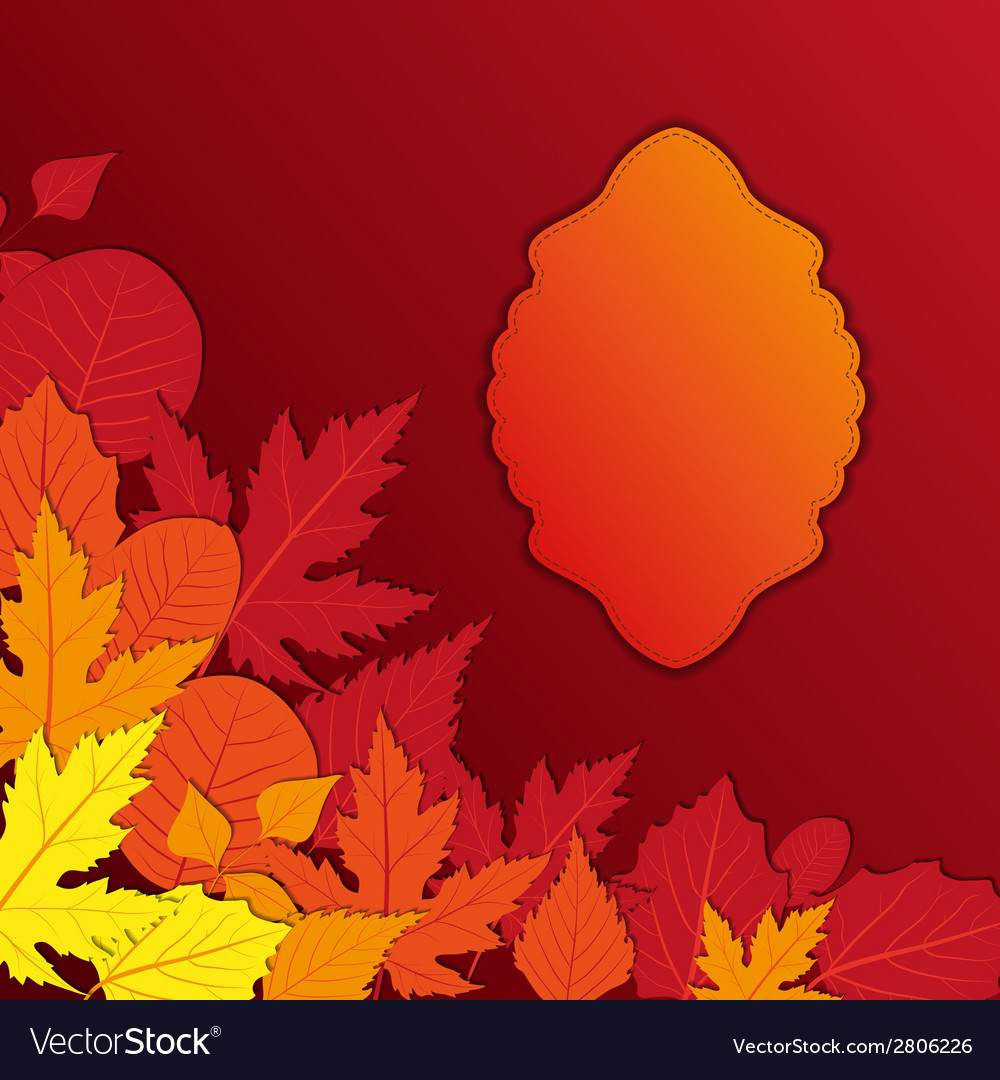 Vintage frame with autumn leaves vector | Price: 1 Credit (USD $1)