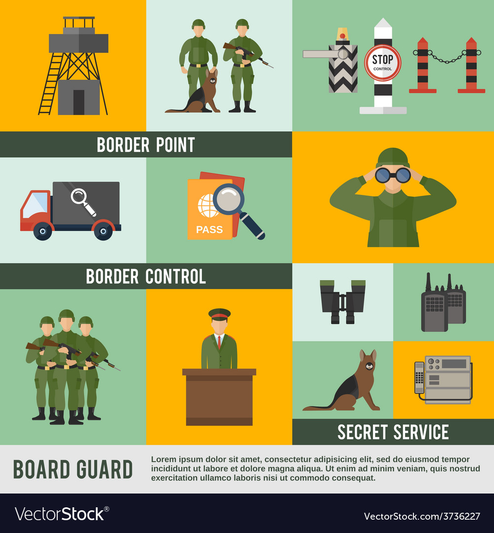 Border guard icon flat vector | Price: 1 Credit (USD $1)