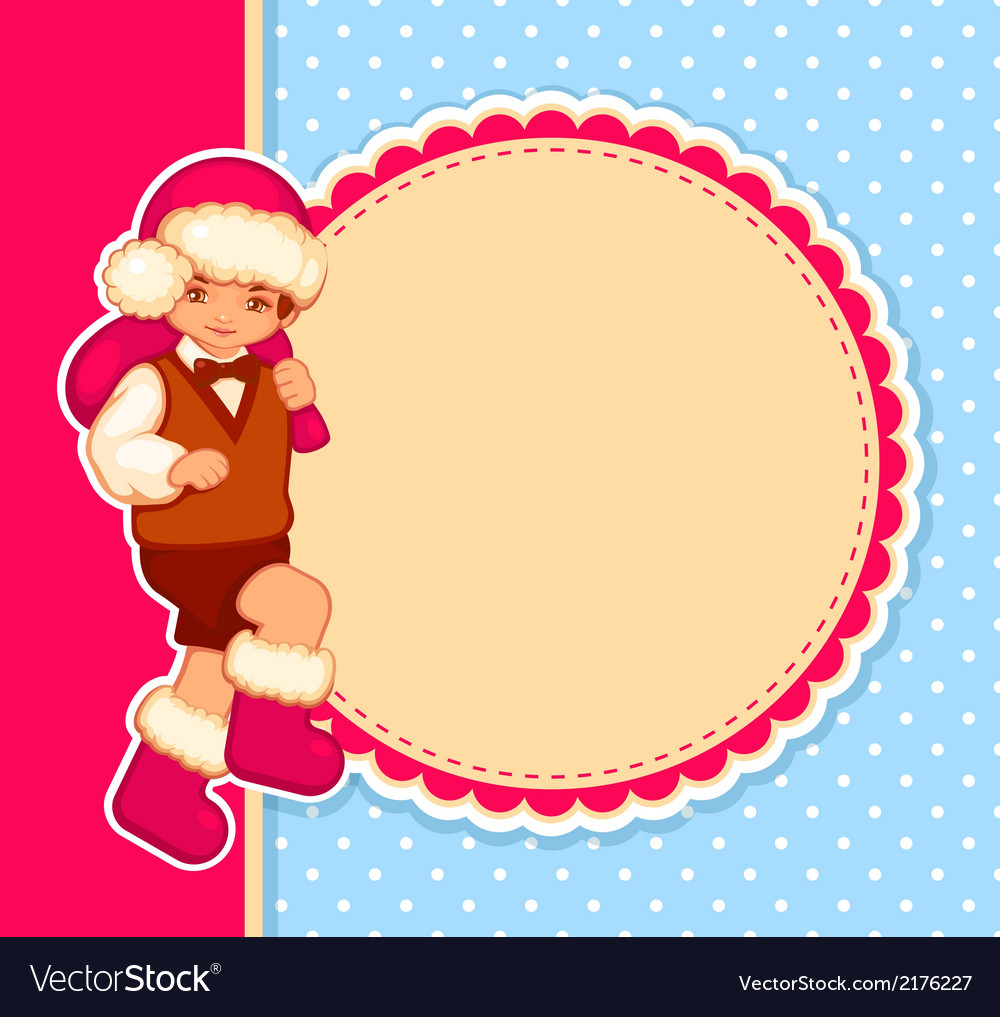 Christmas card with cartoon santa vector | Price: 1 Credit (USD $1)