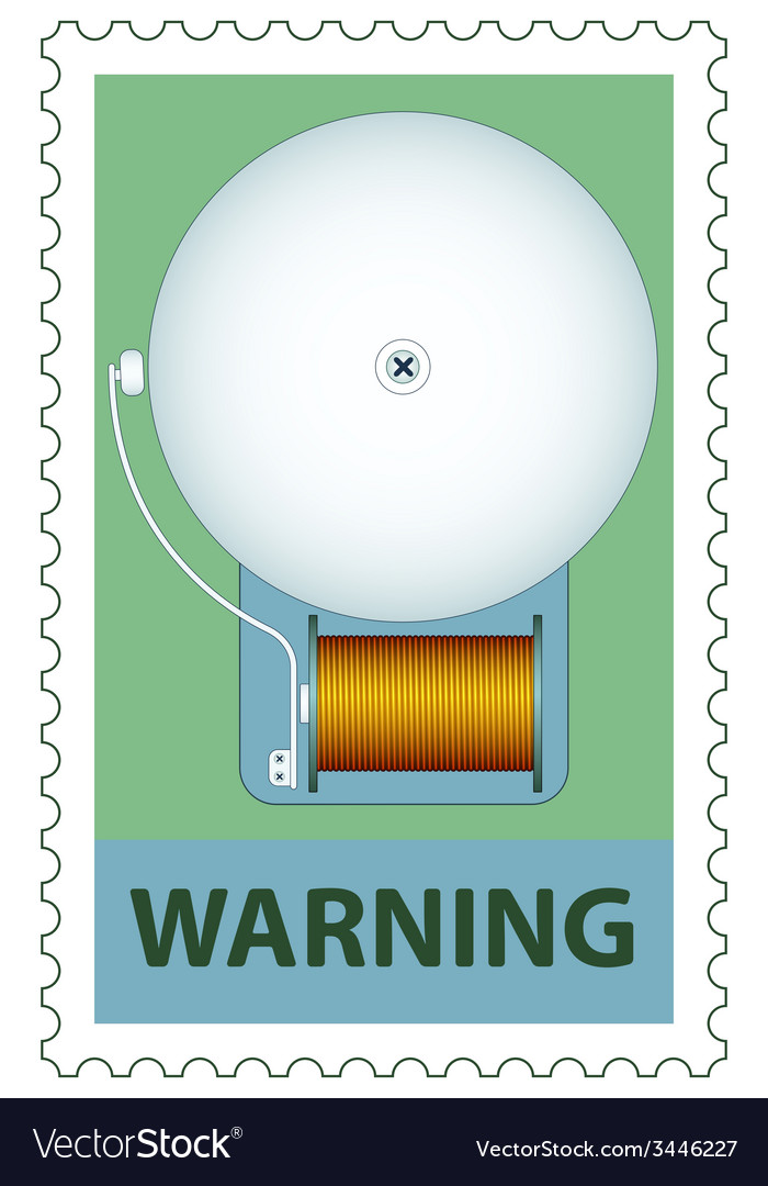 Electric bell on stamp vector | Price: 1 Credit (USD $1)