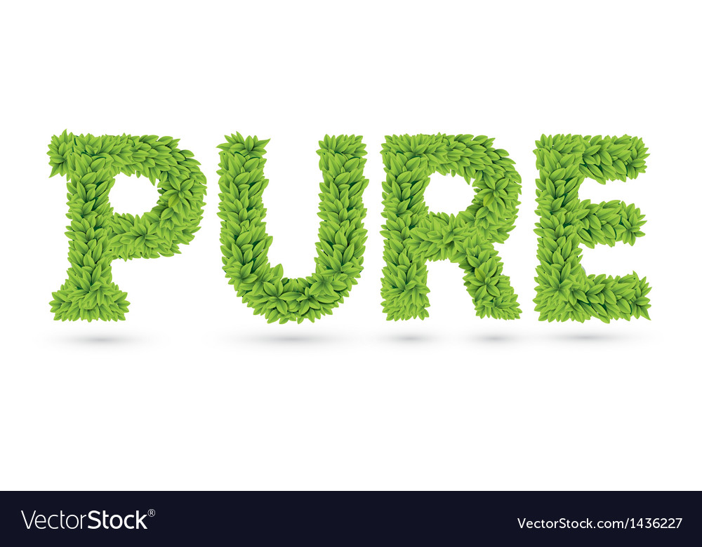 Pure text of green leaves vector | Price: 1 Credit (USD $1)