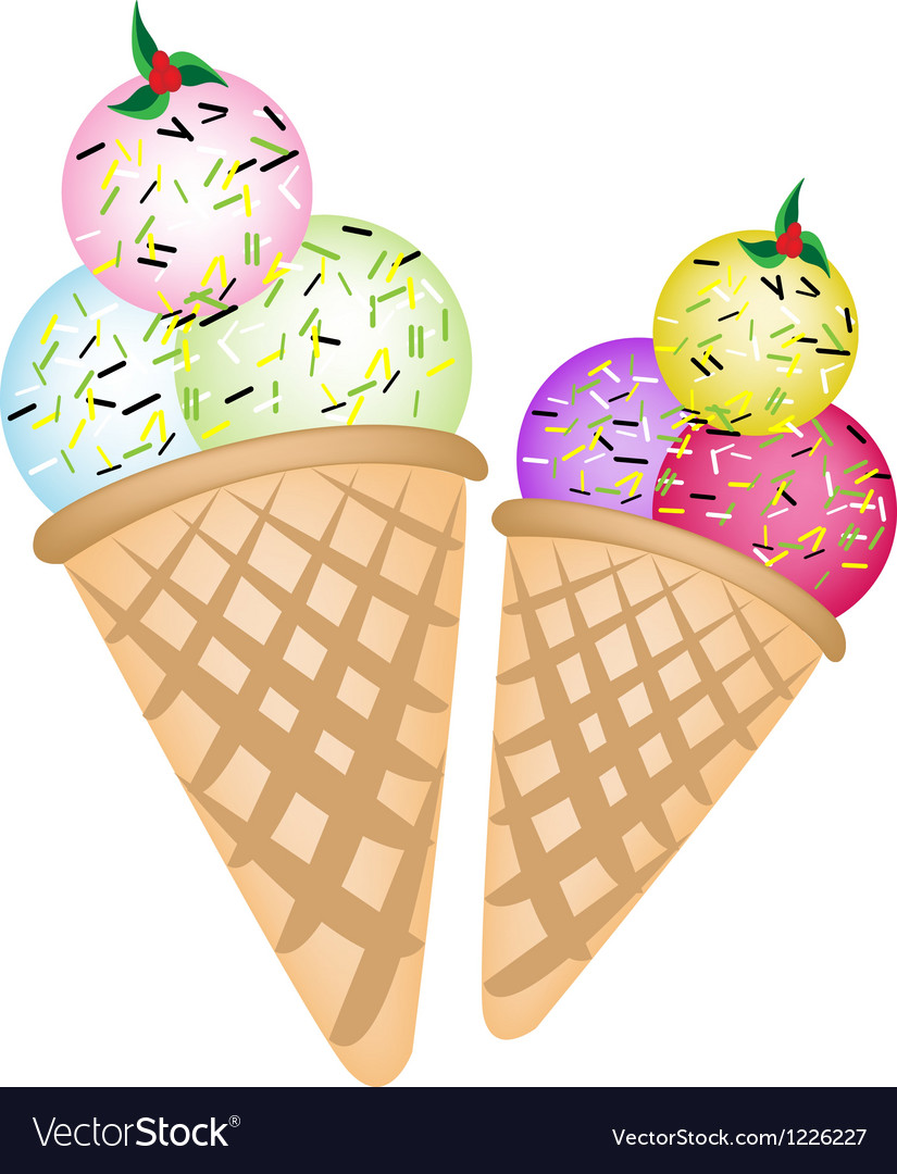 Triple ice cream scoops on two cones vector | Price: 3 Credit (USD $3)