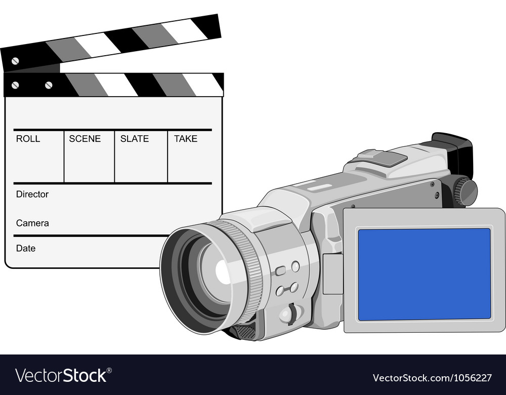 Video camera movie clapboard retro vector | Price: 3 Credit (USD $3)