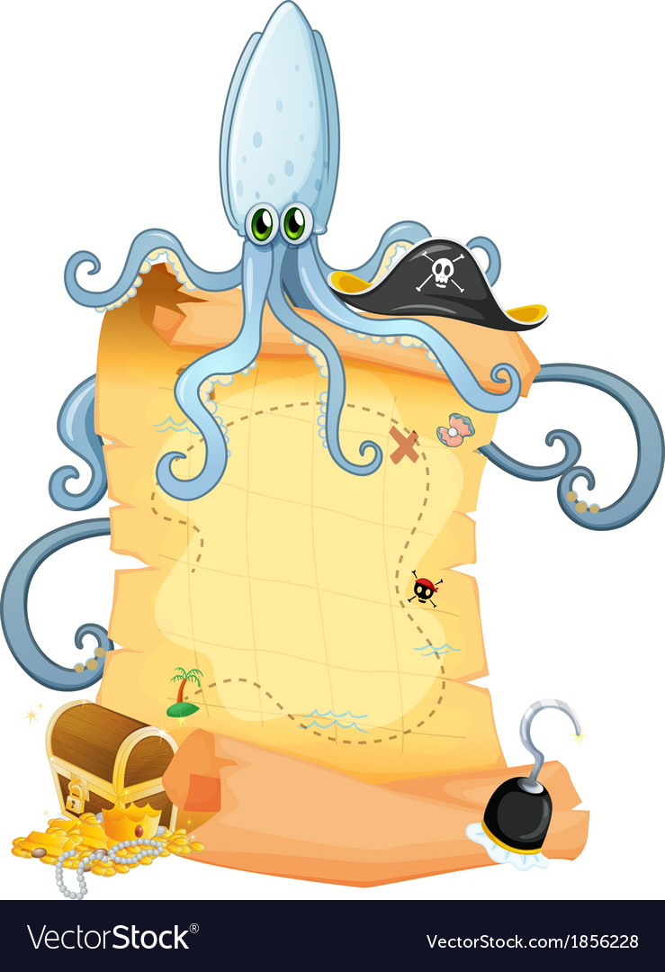 A treasure map with a big octopus vector | Price: 3 Credit (USD $3)