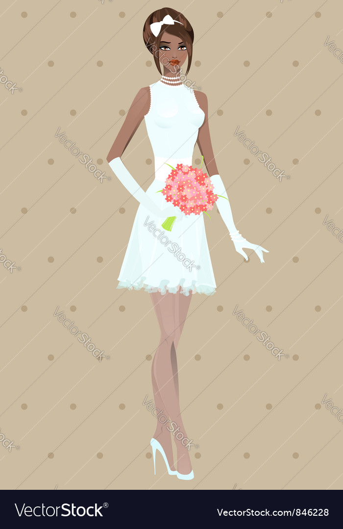 Beautiful girl in wedding dress vector | Price: 1 Credit (USD $1)