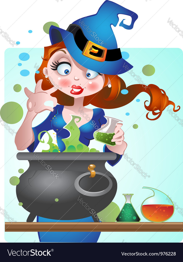Beautiful witch with copper of poison vector | Price: 3 Credit (USD $3)