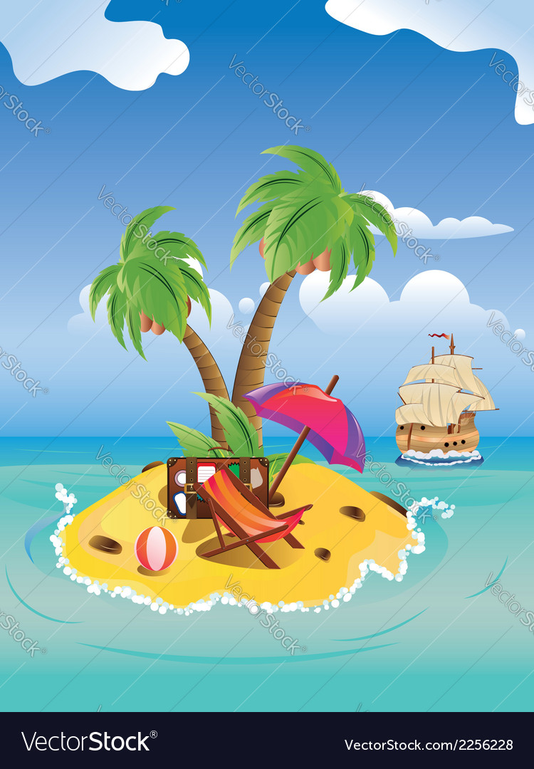Cartoon palm island2 vector | Price: 1 Credit (USD $1)