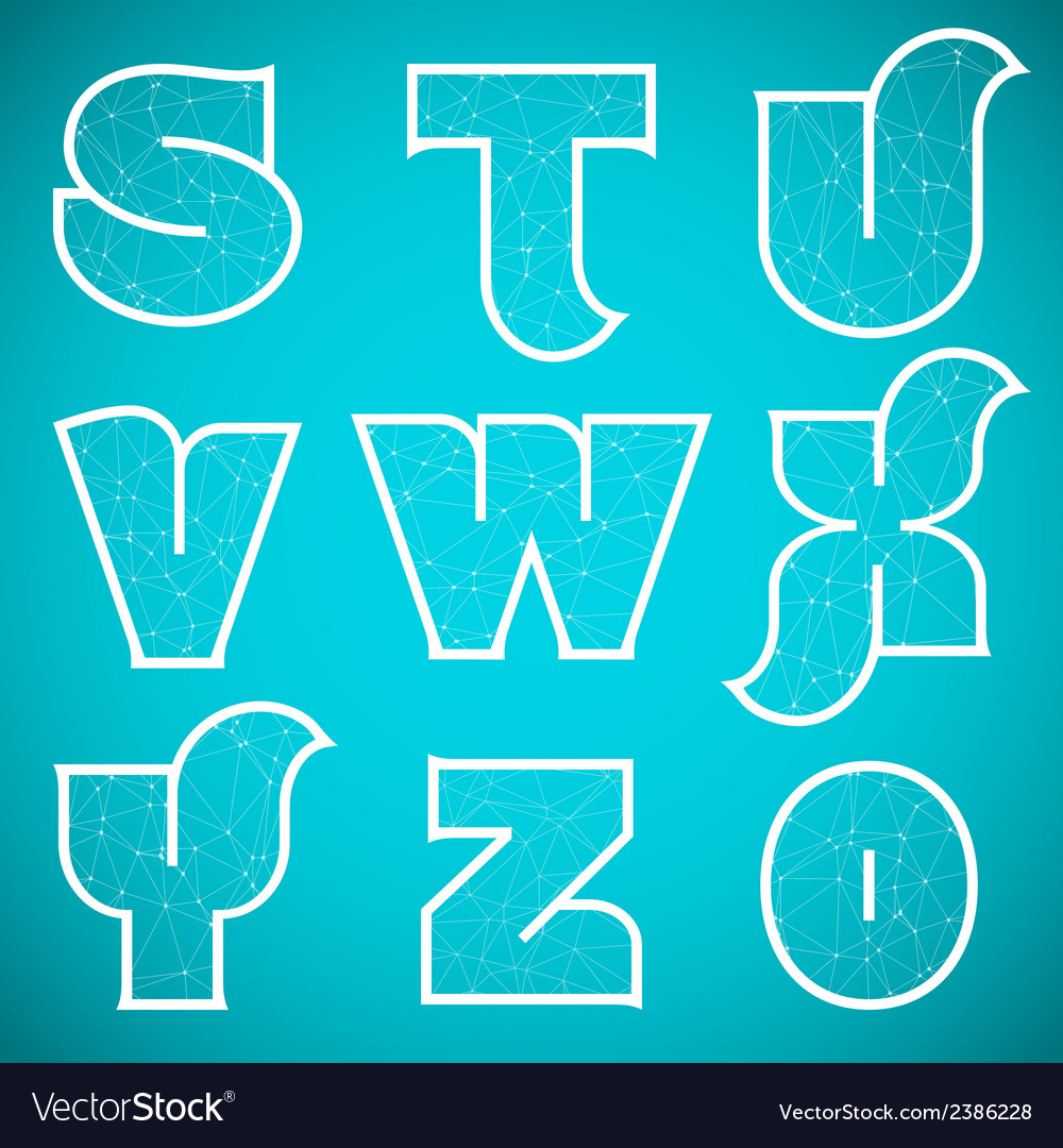 Connections alphabet font set 3 s to 0 vector | Price: 1 Credit (USD $1)