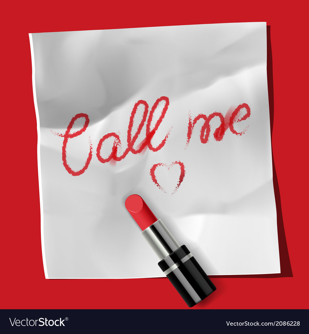 Lipstick and inscription call me vector | Price: 1 Credit (USD $1)