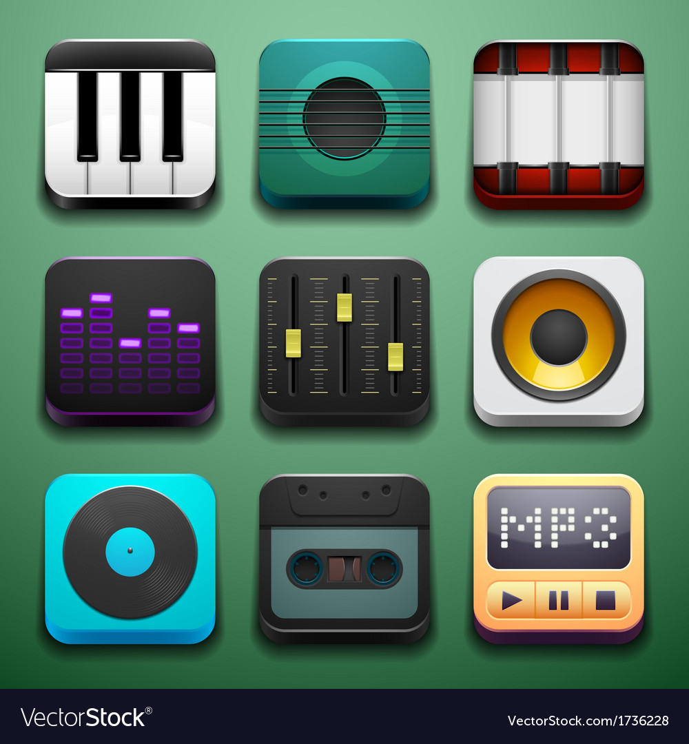 Music background for the app icons vector | Price: 1 Credit (USD $1)