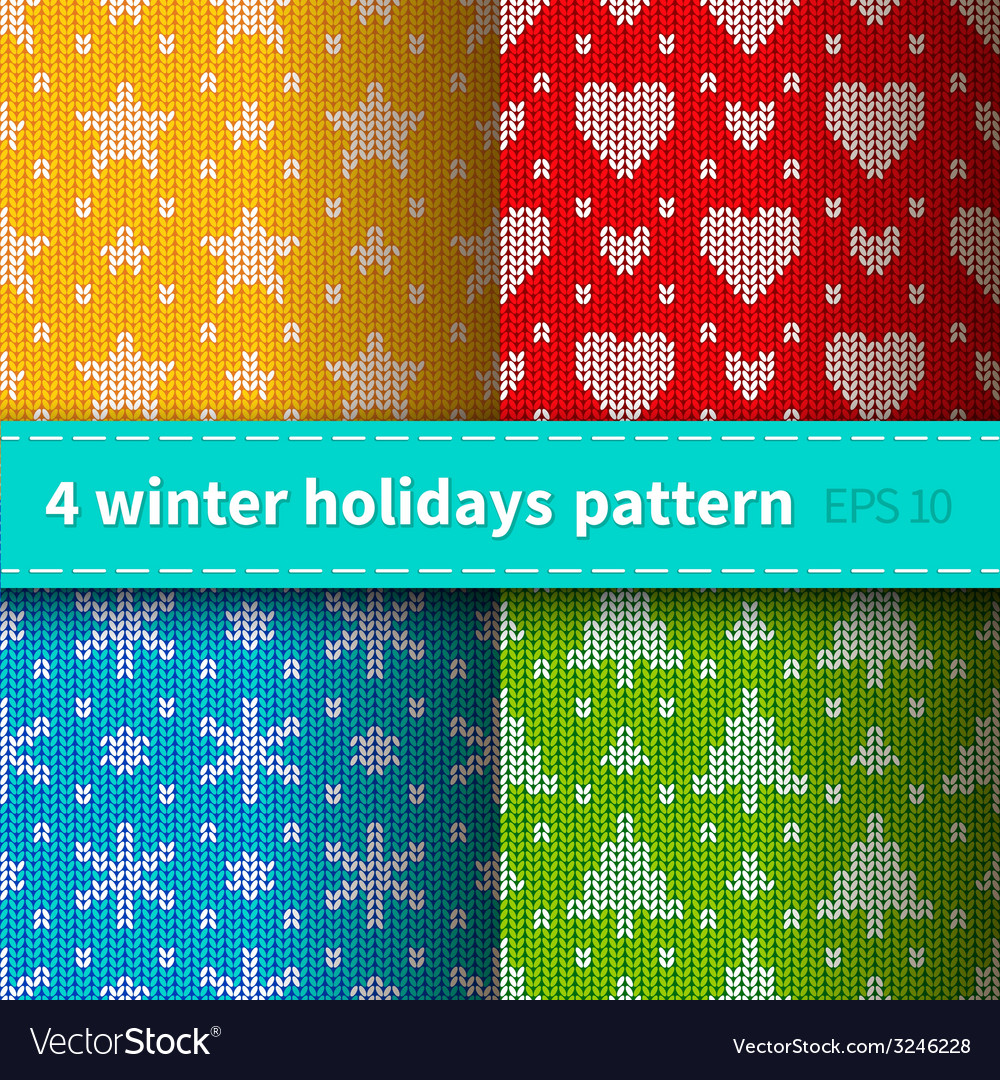 Set of 4 knitted patterns vector | Price: 1 Credit (USD $1)