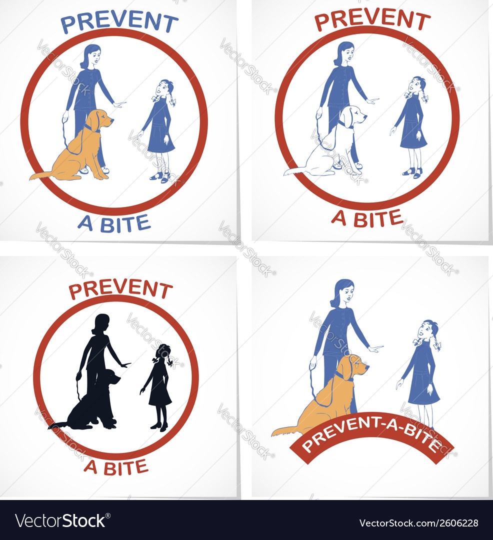 Set of four symbols for prevent a bite action vector | Price: 1 Credit (USD $1)