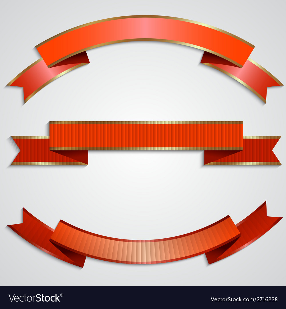 Set of red ribbons with golden border vector | Price: 1 Credit (USD $1)