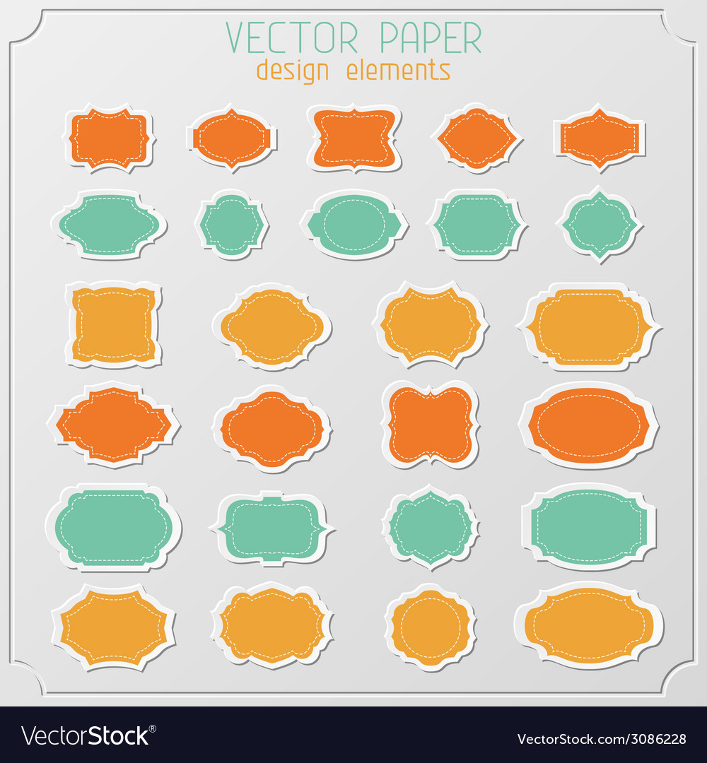 Set of various paper stickers vector | Price: 1 Credit (USD $1)