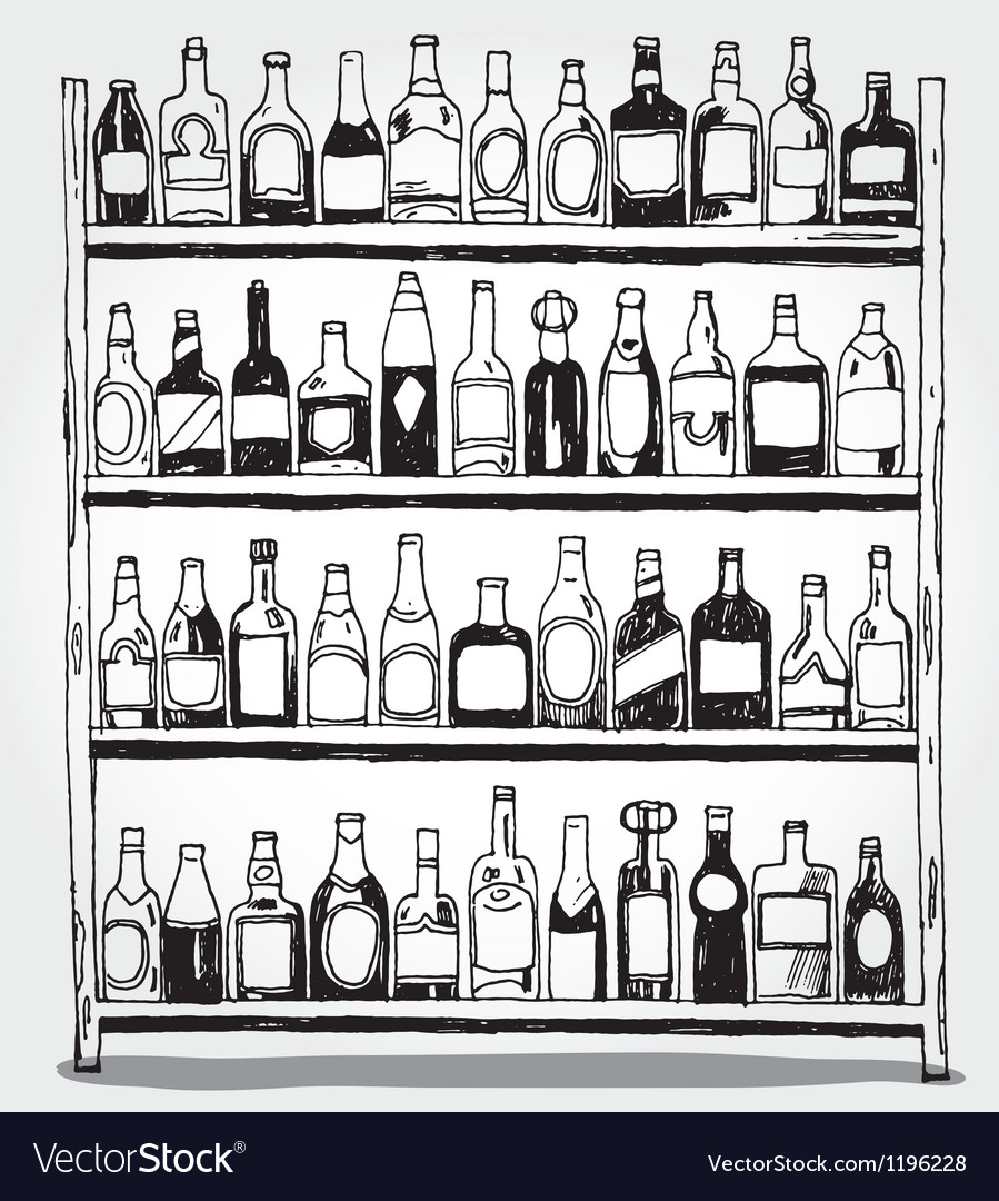 Shelf full of bottles hand drawn vector | Price: 3 Credit (USD $3)