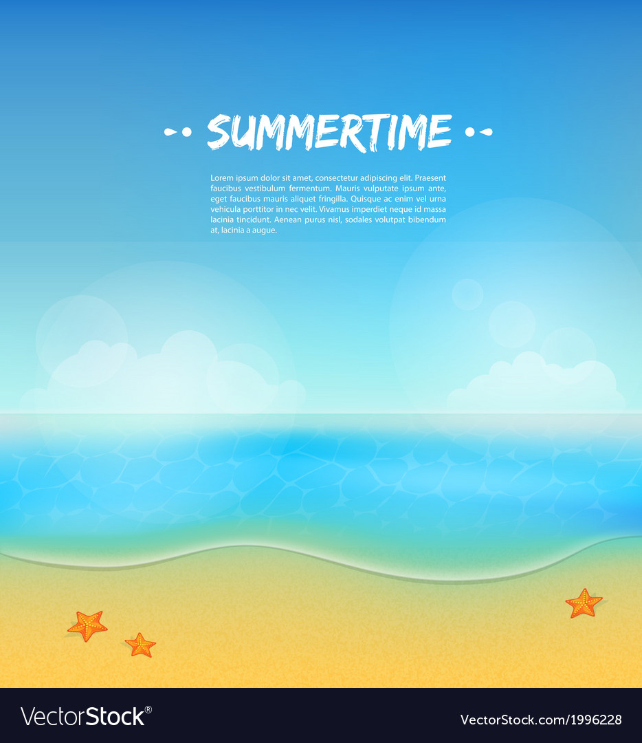 Summer background with sand and water vector | Price: 1 Credit (USD $1)
