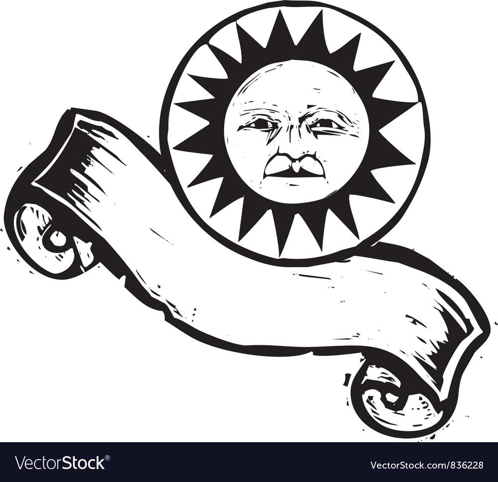 Sun face banner b vector | Price: 1 Credit (USD $1)