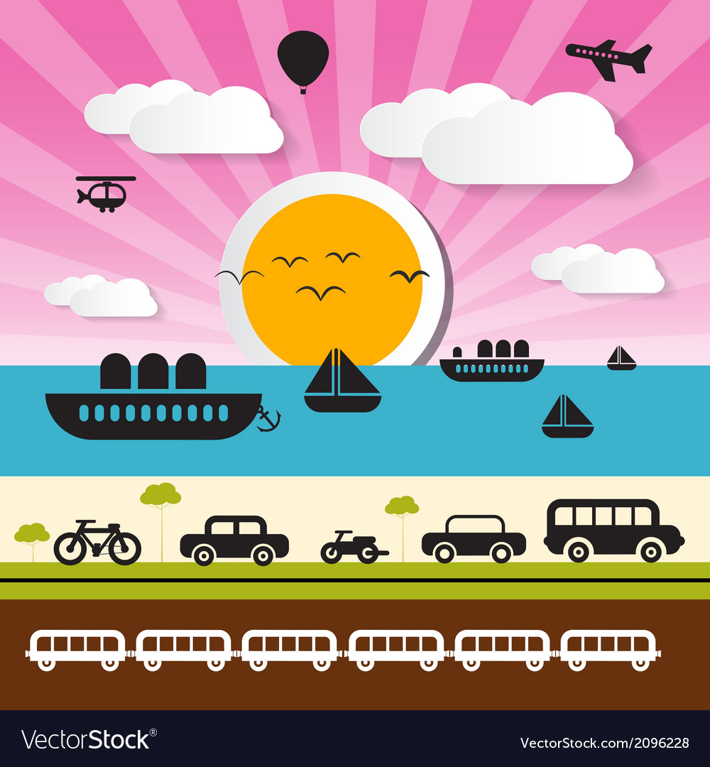 Transportation icons on landscape background vector | Price: 1 Credit (USD $1)
