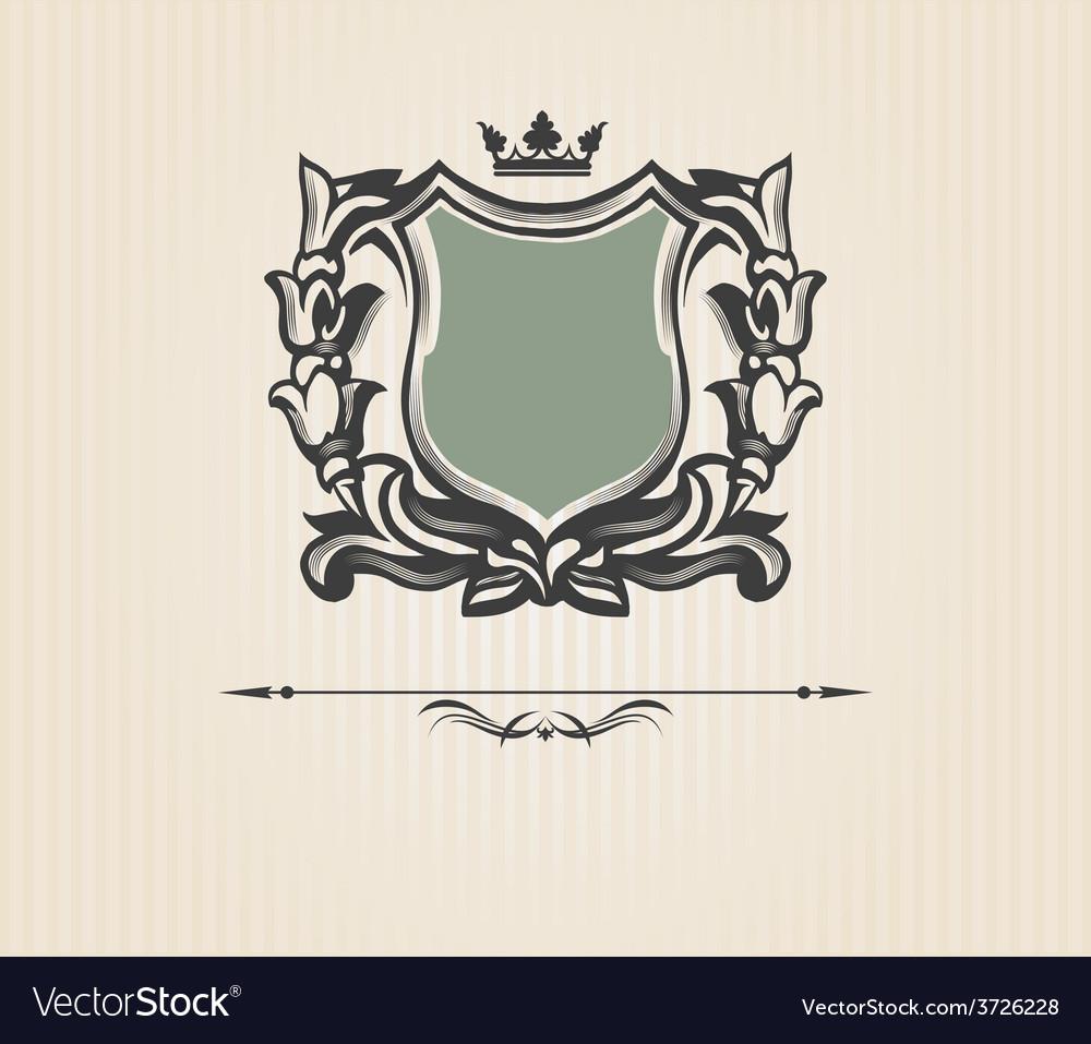 Vintage ornate shield vector | Price: 1 Credit (USD $1)