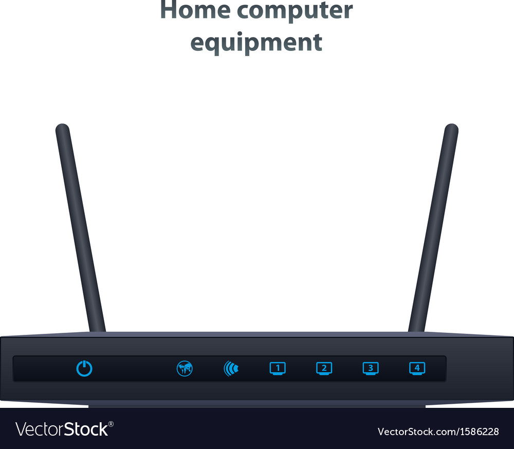 Wireless router with two antenna vector | Price: 1 Credit (USD $1)
