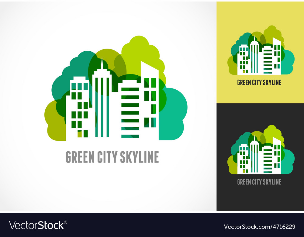 Colorful real estate city and skyline icon vector | Price: 1 Credit (USD $1)