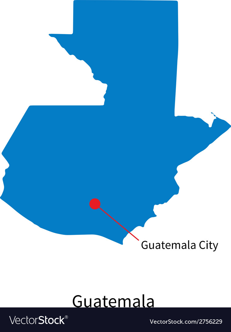 Detailed map of guatemala and capital city vector | Price: 1 Credit (USD $1)
