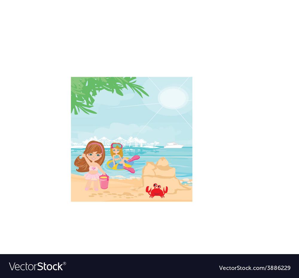 Fun on the beach vector | Price: 1 Credit (USD $1)