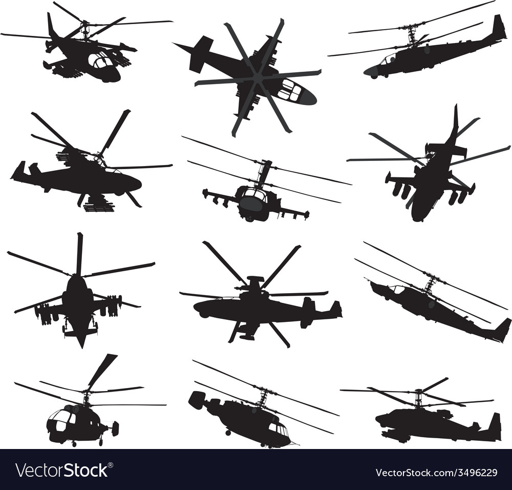 Helicopter silhouettes set vector | Price: 1 Credit (USD $1)