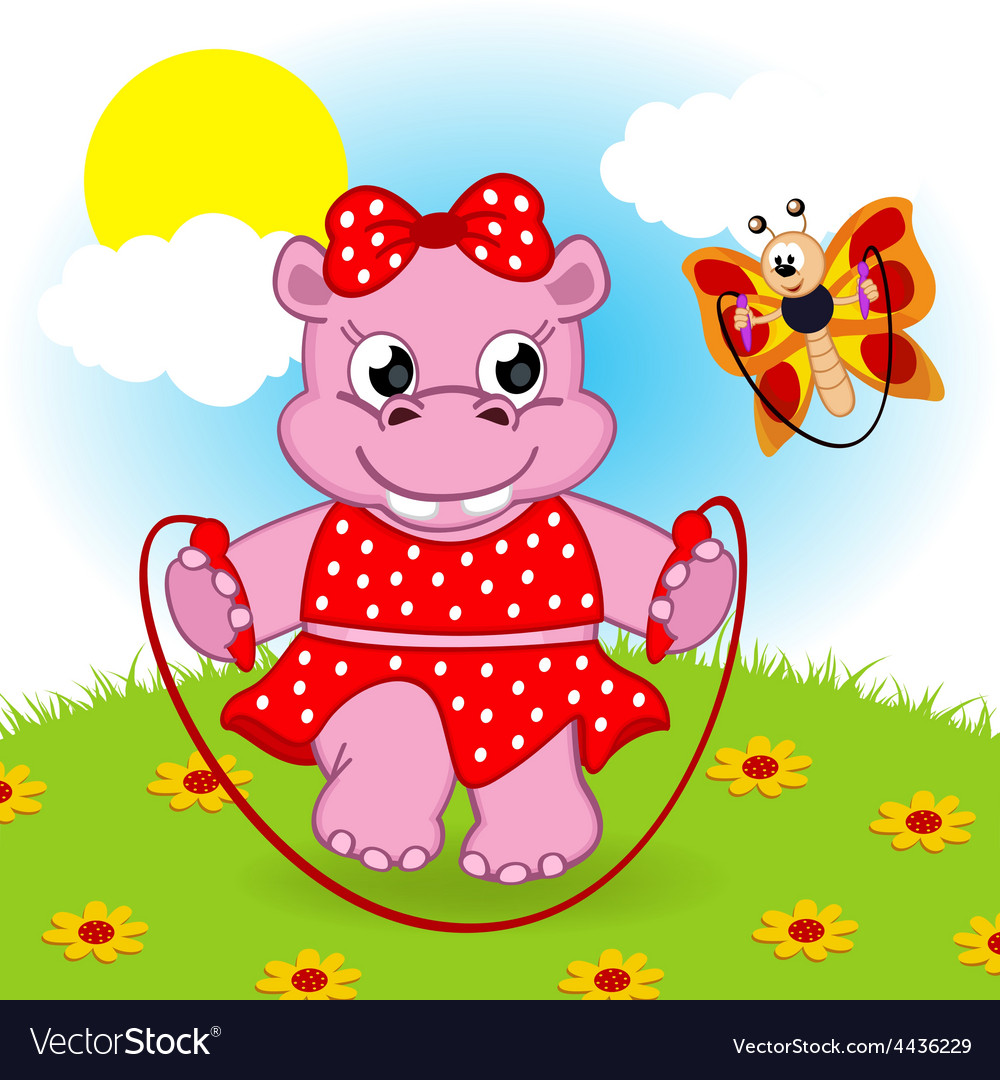 Hippo and butterfly jumping rope vector | Price: 3 Credit (USD $3)