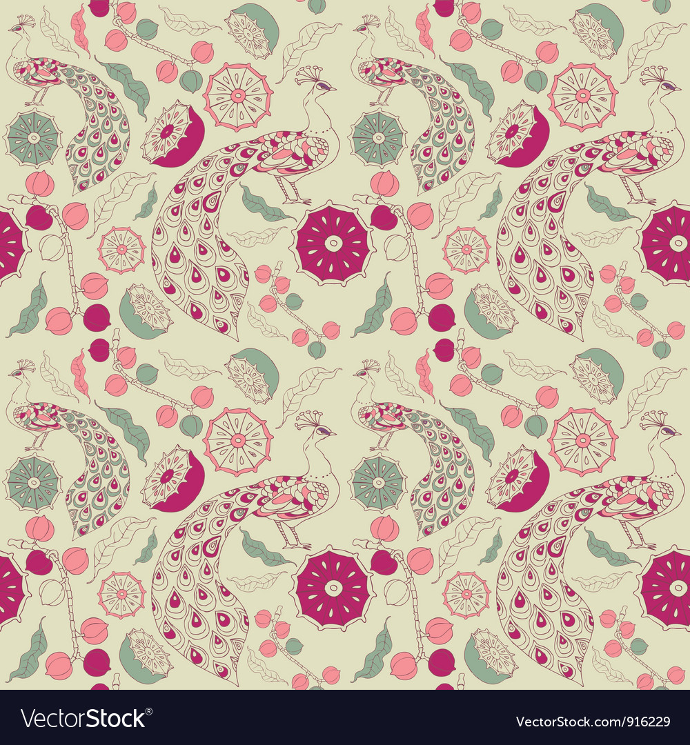 Vintage floral peacock pattern vector | Price: 1 Credit (USD $1)