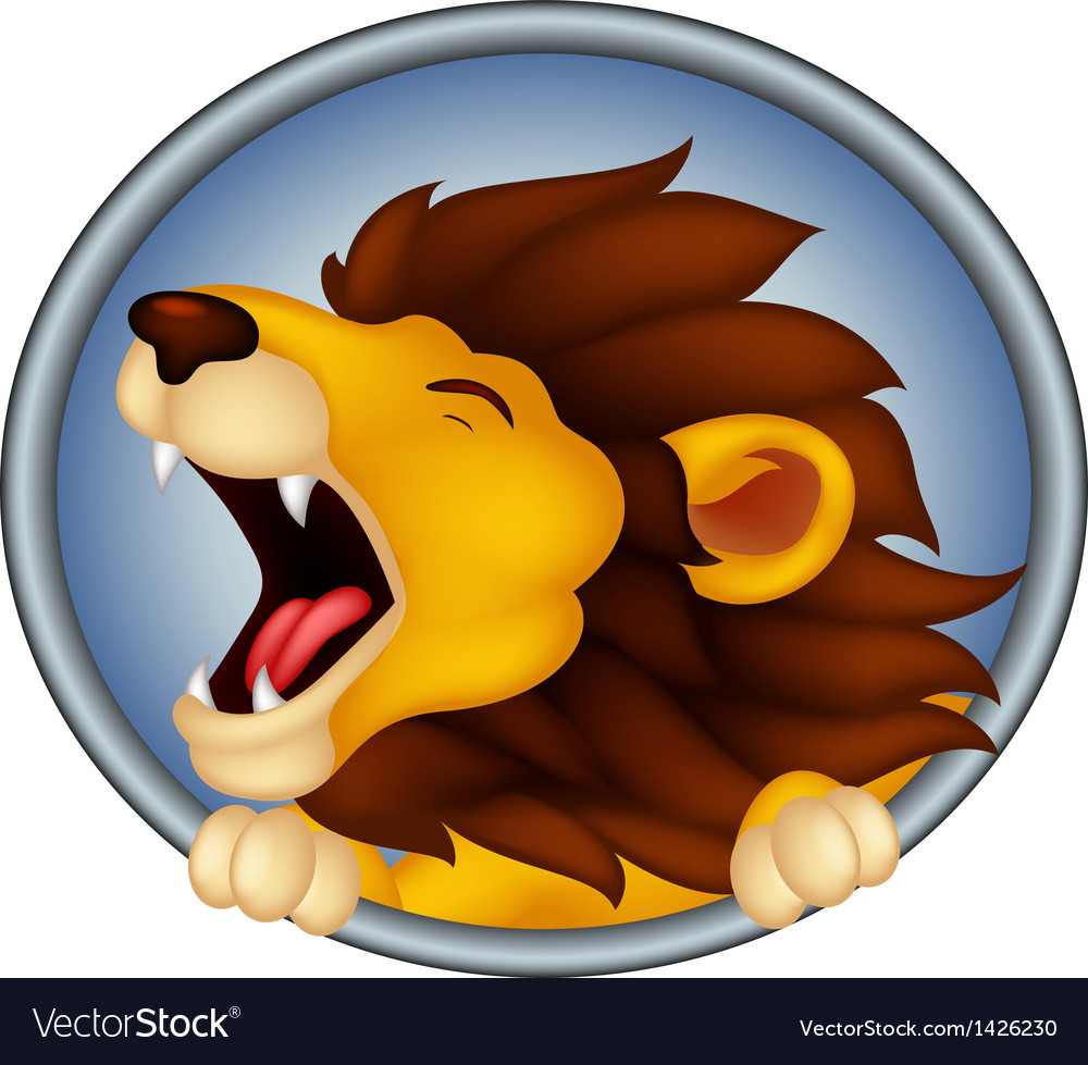 Angry head lion cartoon roaring vector | Price: 1 Credit (USD $1)