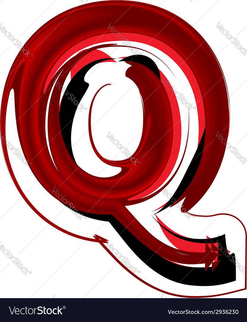 Artistic font letter q vector | Price: 1 Credit (USD $1)