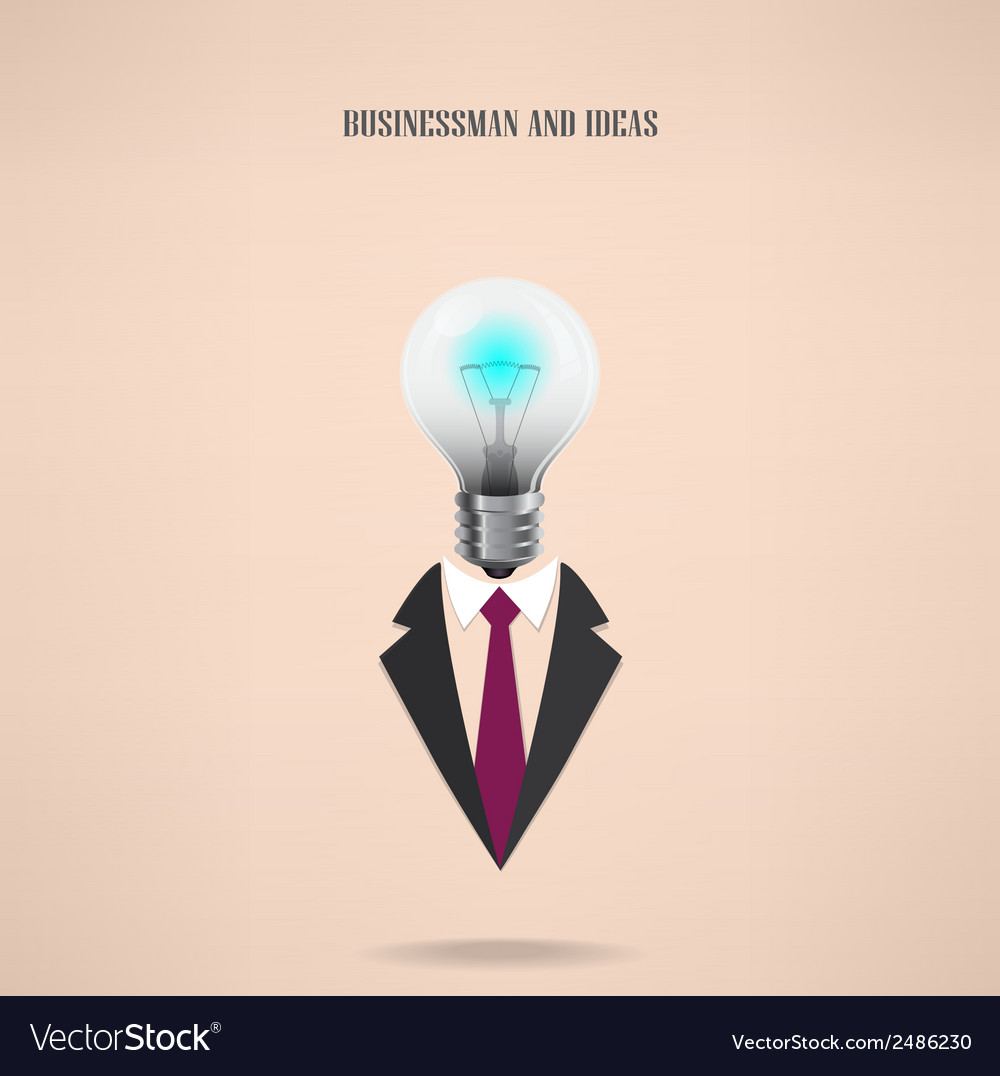 Businessman symbol with creative light bulb sign vector | Price: 1 Credit (USD $1)