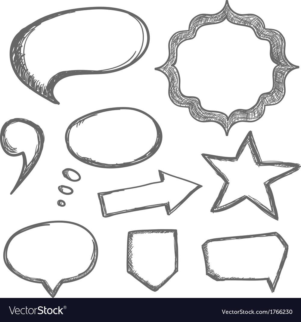 Hand drawn speech bubbles vector | Price: 1 Credit (USD $1)