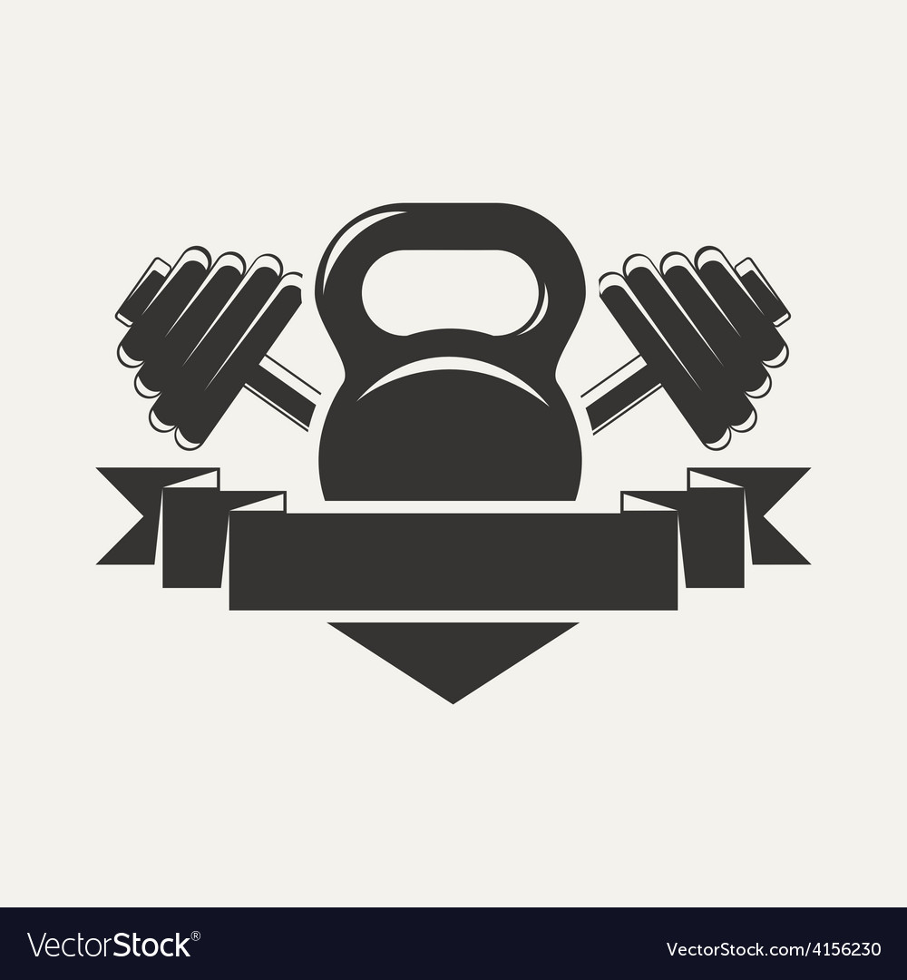 Kettlebell and dumbbell with baner logo vector | Price: 1 Credit (USD $1)