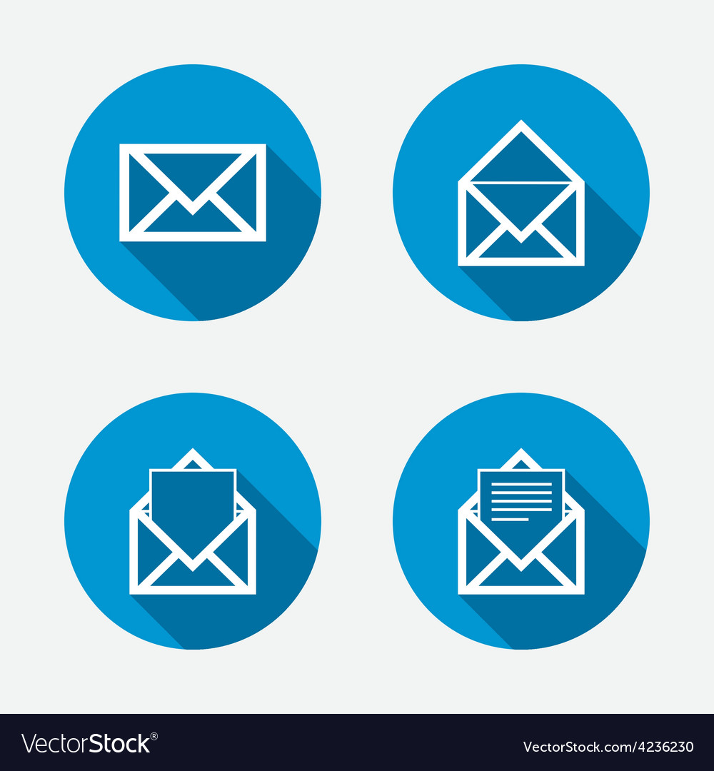 Mail envelope icons message document symbols vector | Price: 1 Credit (USD $1)