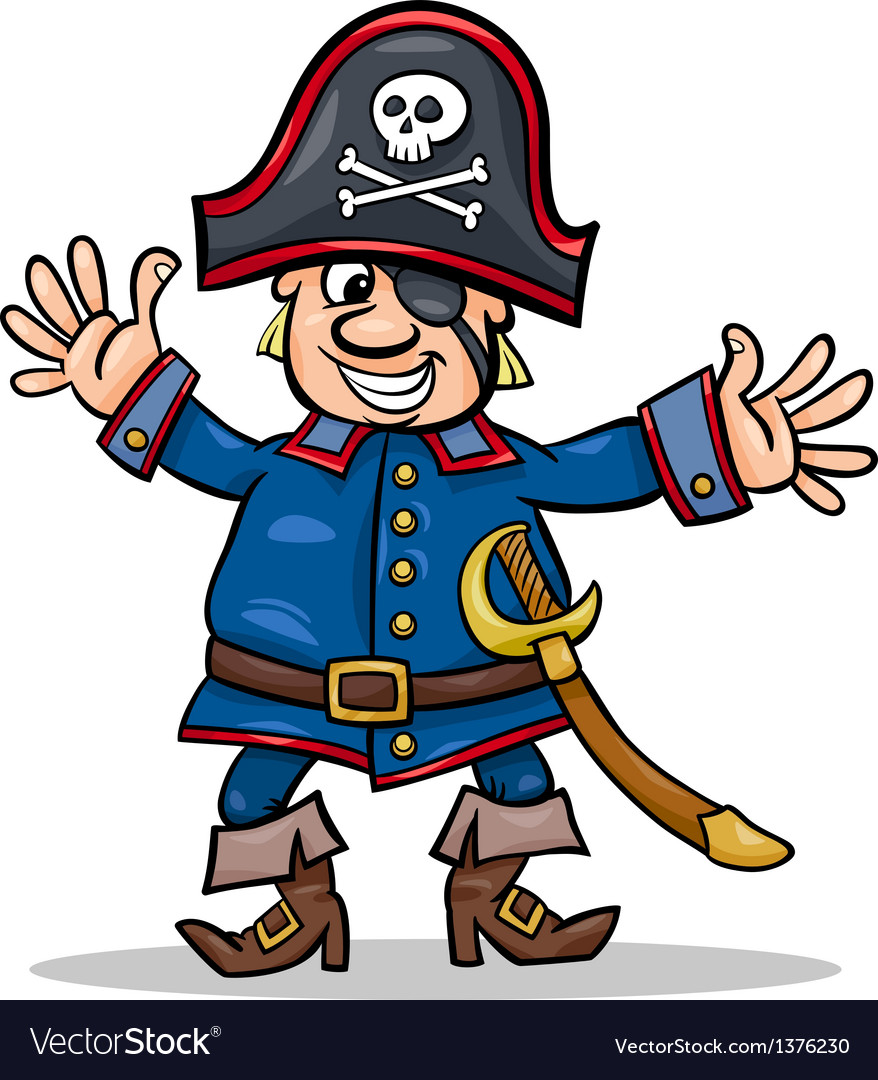 Pirate captain cartoon vector | Price: 1 Credit (USD $1)