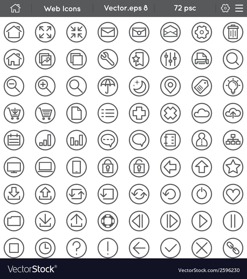 Round web icons vector | Price: 1 Credit (USD $1)
