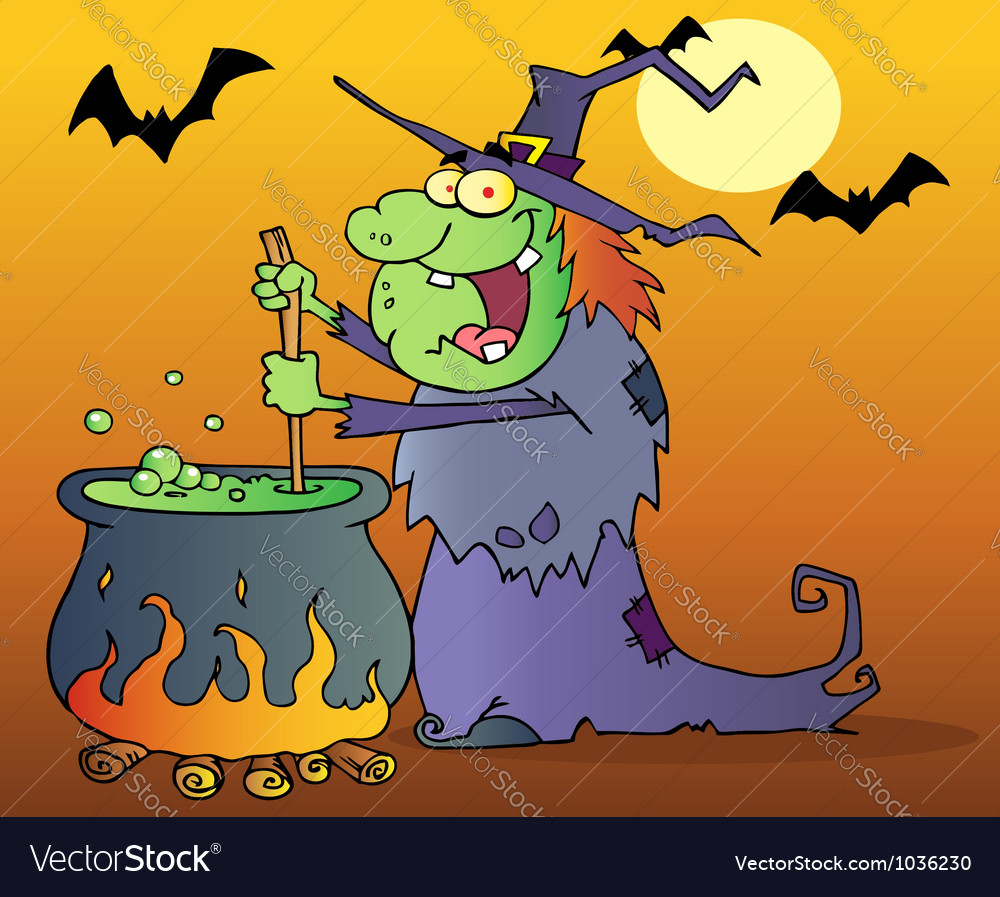Ugly witch preparing a potion in halloween night vector | Price: 1 Credit (USD $1)