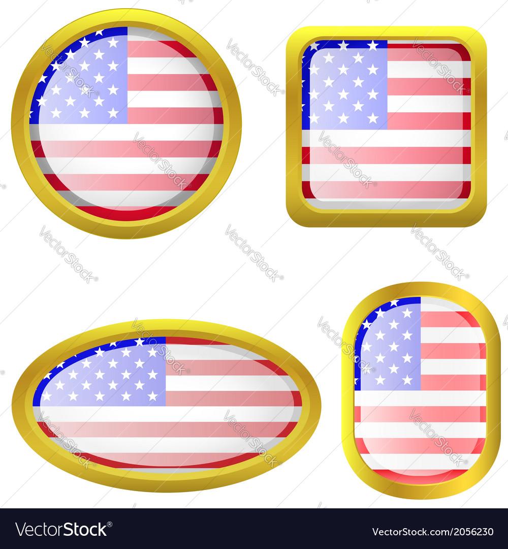 Usa flag icon set vector | Price: 1 Credit (USD $1)