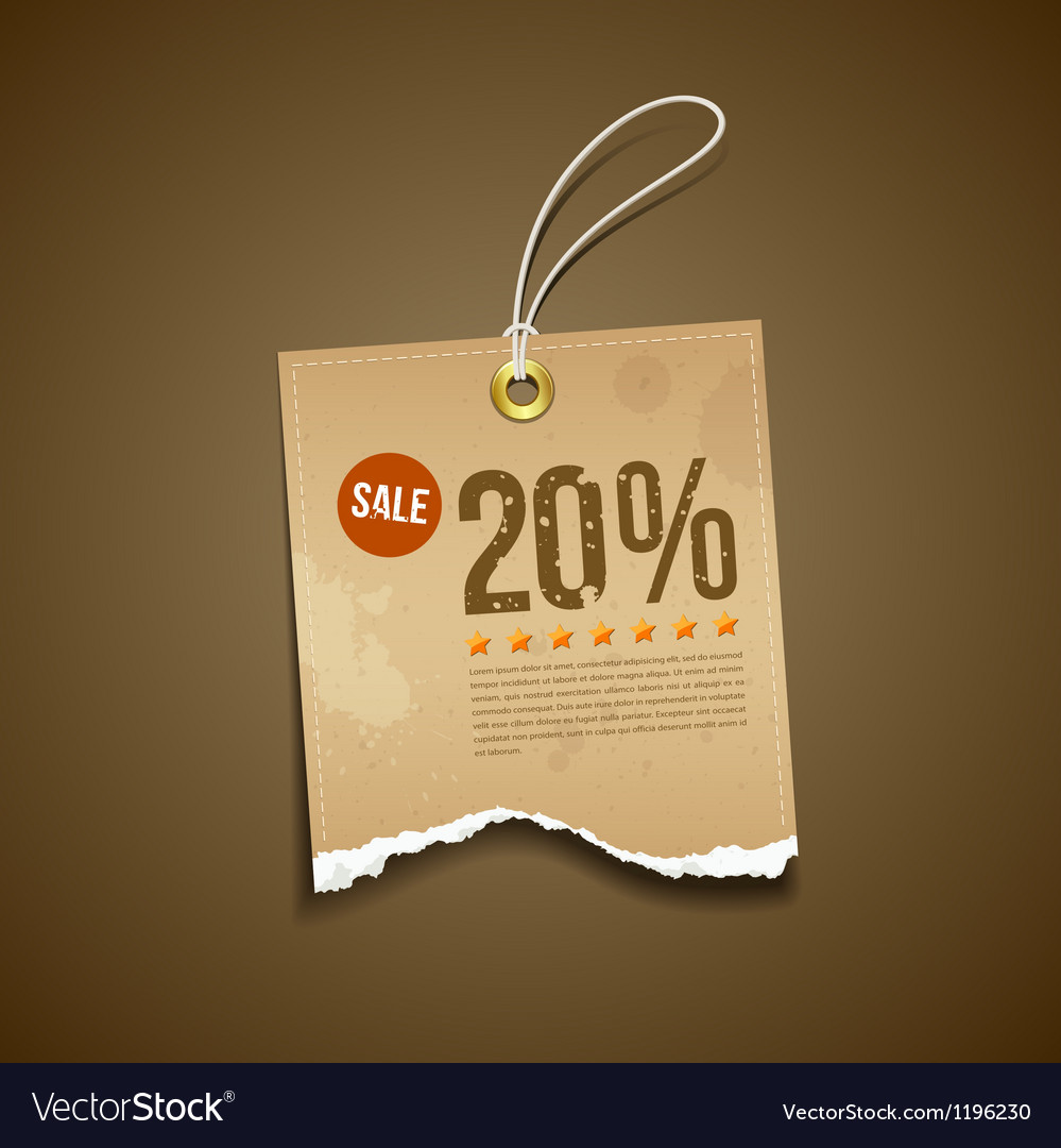 Vintage label ripped brown paper sale vector | Price: 1 Credit (USD $1)