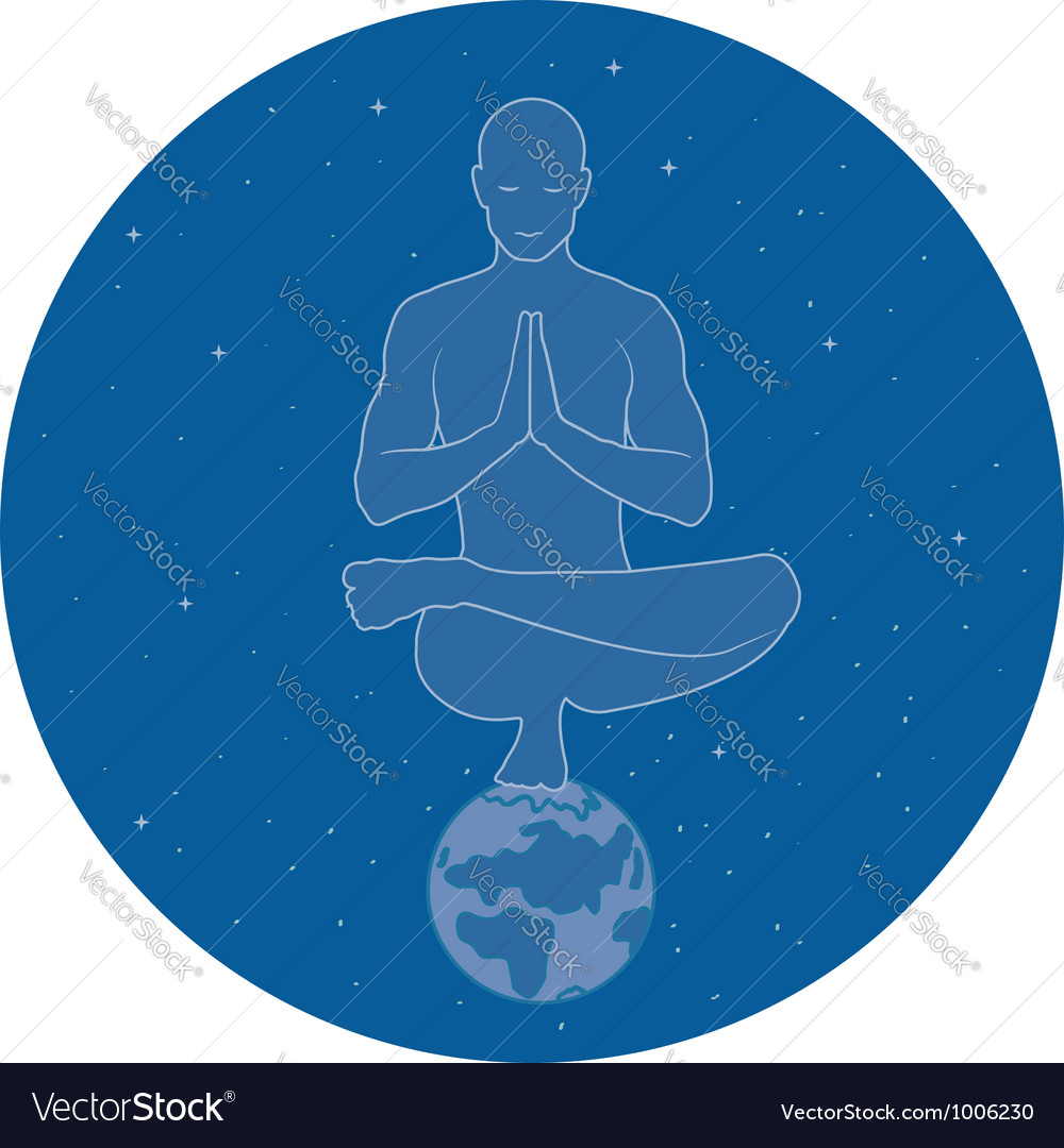 Yoga in space vector | Price: 1 Credit (USD $1)